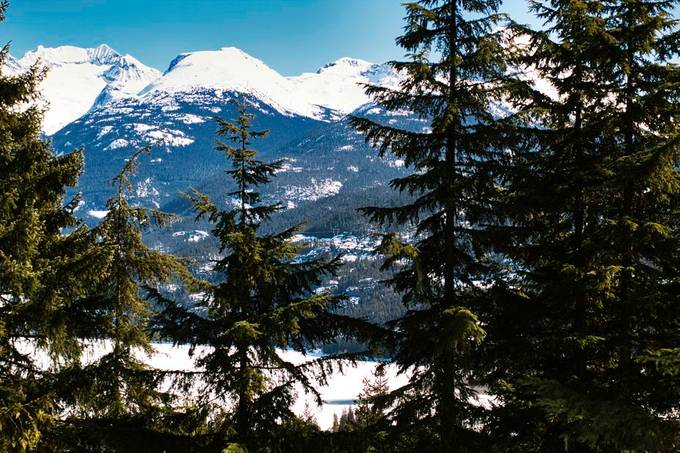 View of Rethel Mountain, Parkhurst Mountain and Wedge Mountain, from Rainbow, Whistler, BC, Canada