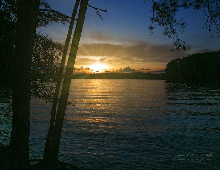 Sunset over Lake Lanier in Georgia, USA.