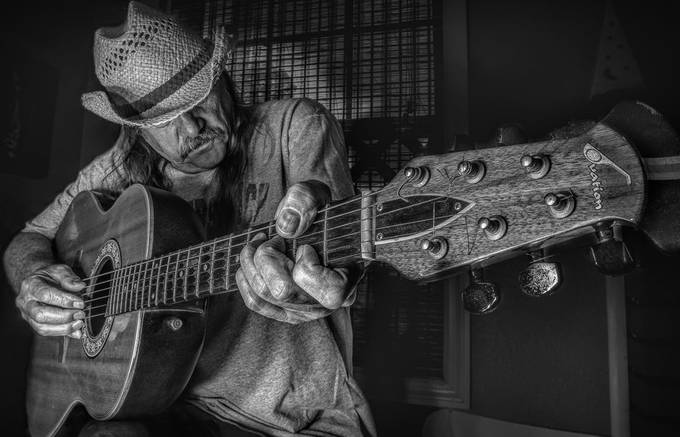 Guitar Man by GregDavisFlorida - Black And White Compositions Photo Contest Vol9