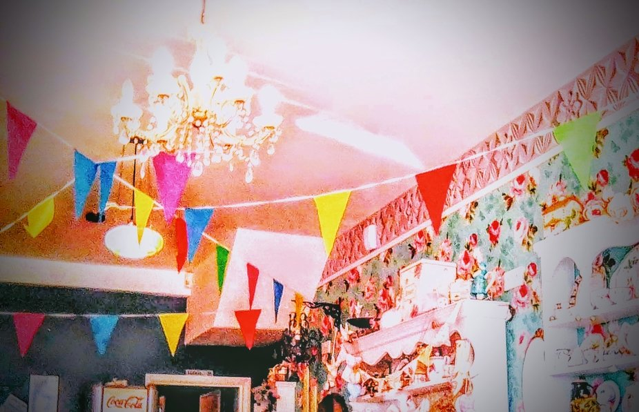 BRIGHT BUNTING .with CHANDELIER...