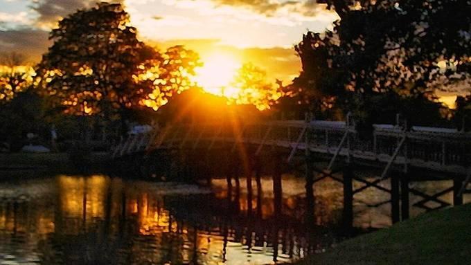 Beautiful sunset at the park, Spring Lake, NJ