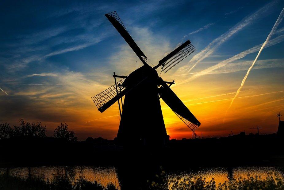 A beautiful sunset in Kinderdijk, The Netherlands