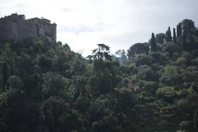 Castle and path in Portofino, Italy