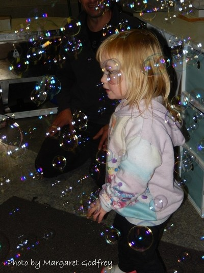 Sophie with bubbles