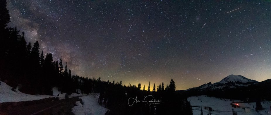 Mt Rainier with meteor and Starlink satellite and Milky Way-062320