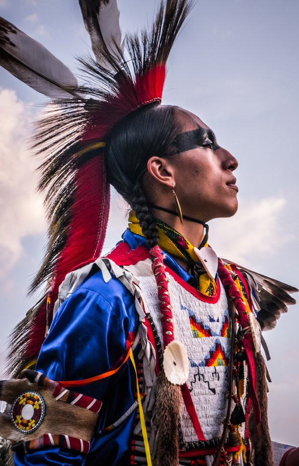 A Native Warrior at The Grand River Pow Wow in Brantford Ontario