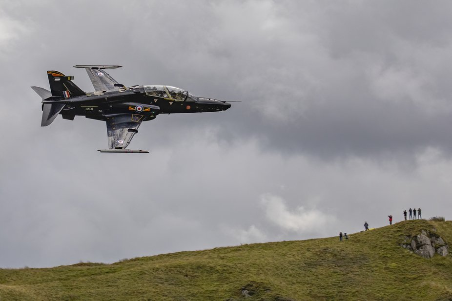 Hawk training Jet practising Low Flying through the Mach Loop North Wales