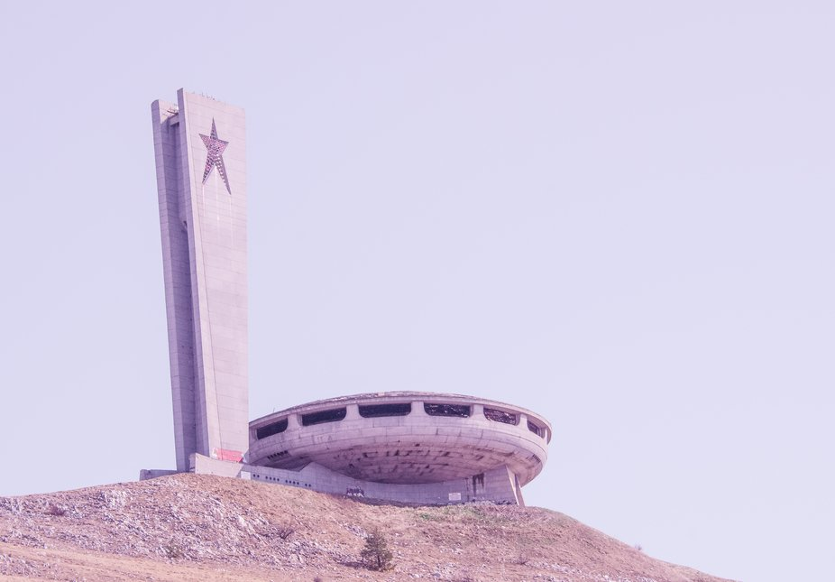 The Monument House of the Bulgarian Communist Party (also known as the Buzludzha Monument). The m...
