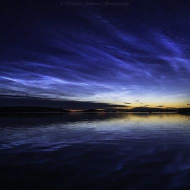 I sure am glad I woke to see these noctilucent clouds! Hood Canal, Washington, USA