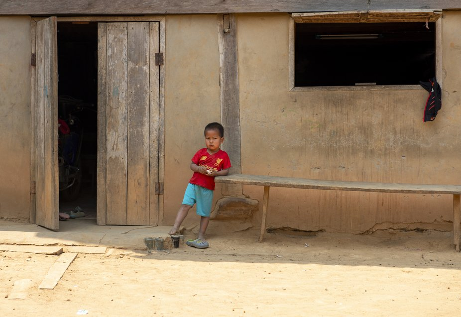 A young kid in the Lao village of Ban Houy Phalam, where the Khmu people live. This village is se...