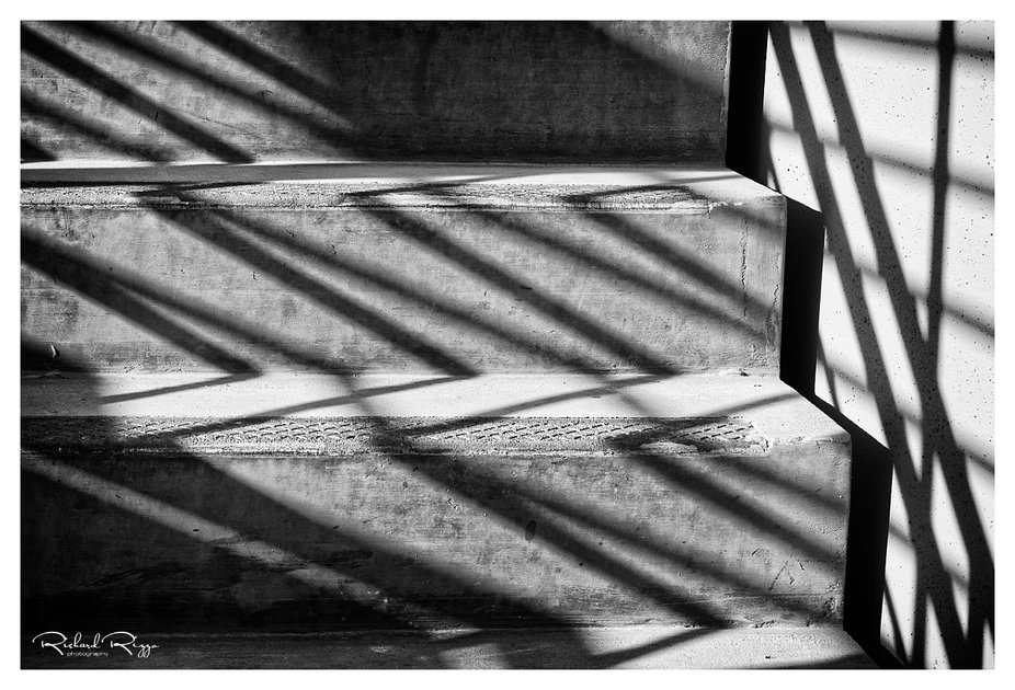 Photographed in a local parking garage, the casting shadows of a railing on concrete steps made f...