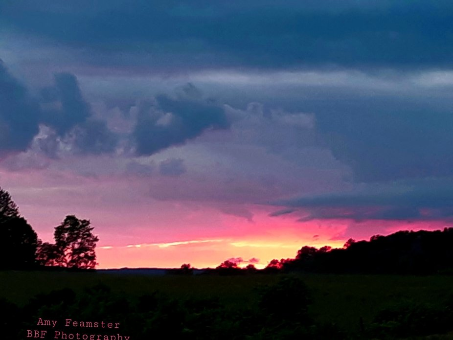 This was the prettiest sunset I have ever seen.  I had never seen the sky that color of pink.