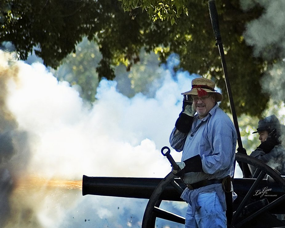Civil War re-enactment at Kearney Park in Fresno, California, USA with cannons blazing and smoke erupting.  You could hear your heart beating from all the noise.