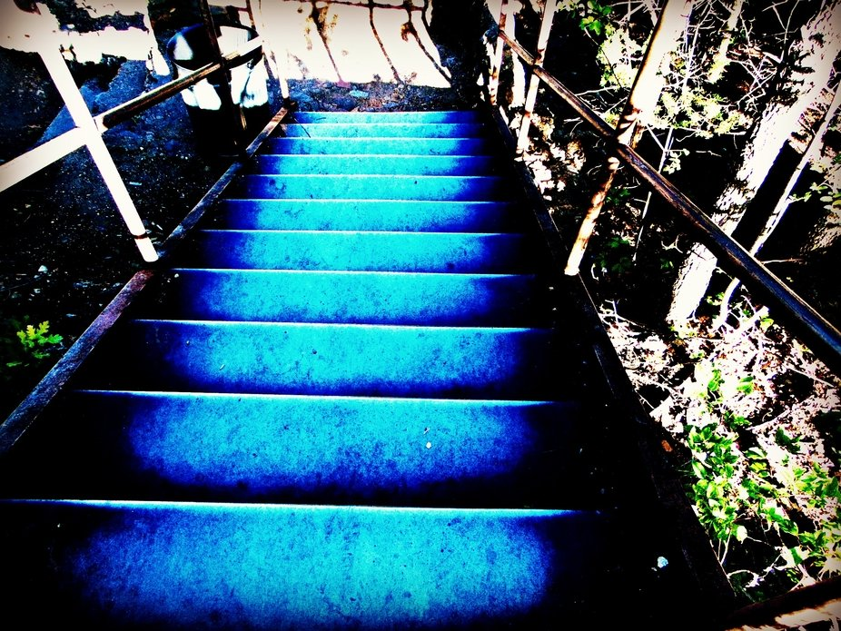 Taken at Turner Falls, in Davis Oklahoma. These stairs actually lead down to a cave area, the eve...