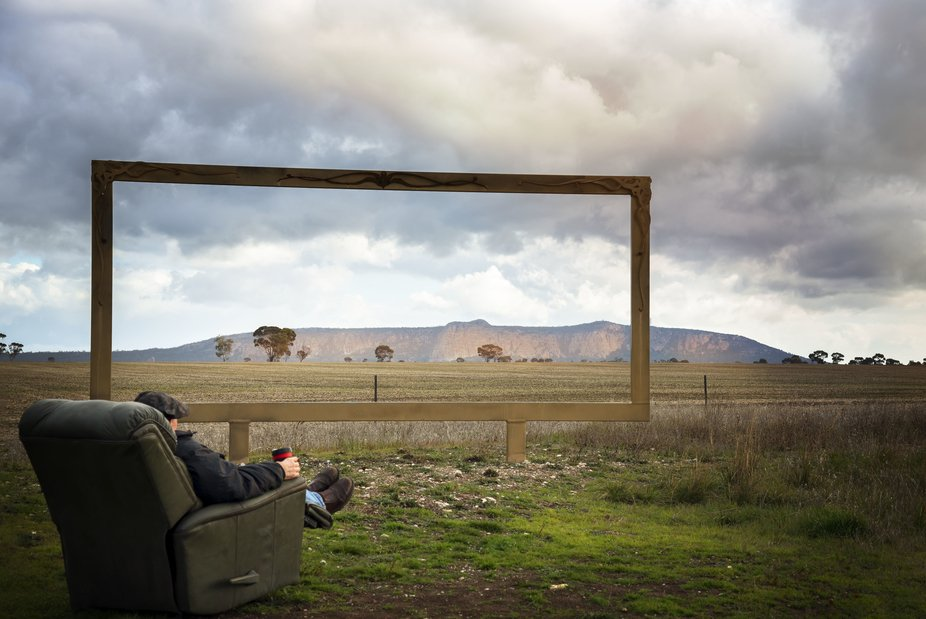 Framing the Wimmera area f Victoria and viewing Mt Arapiles through the frame, as the old chair l...