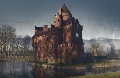 Greveholm - castle in moonlight
