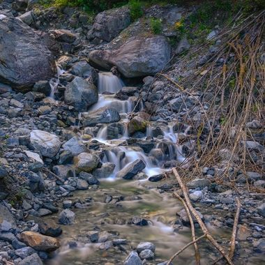 The winter run off of snow and creeks creating a waterfall