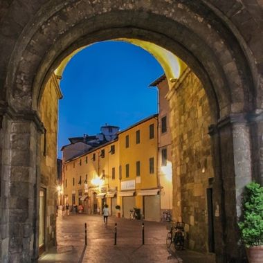 Lucca Roman Arch at night
