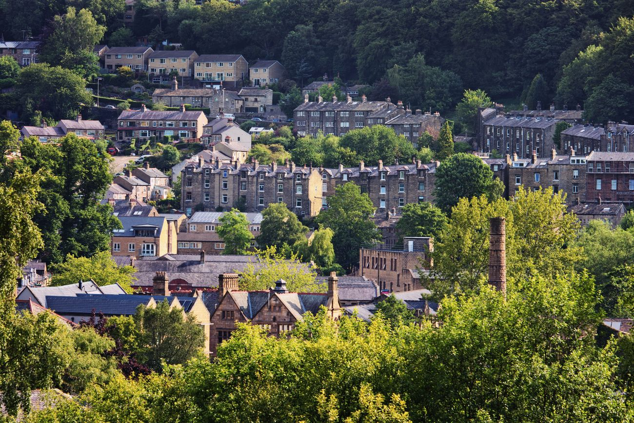Warm morning light falling on the roofscape of Hebden Bridge