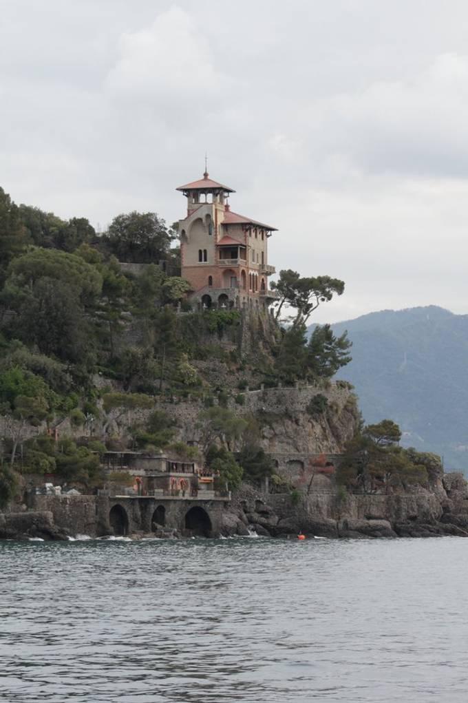 Taking while sailing into Portofino, Italy