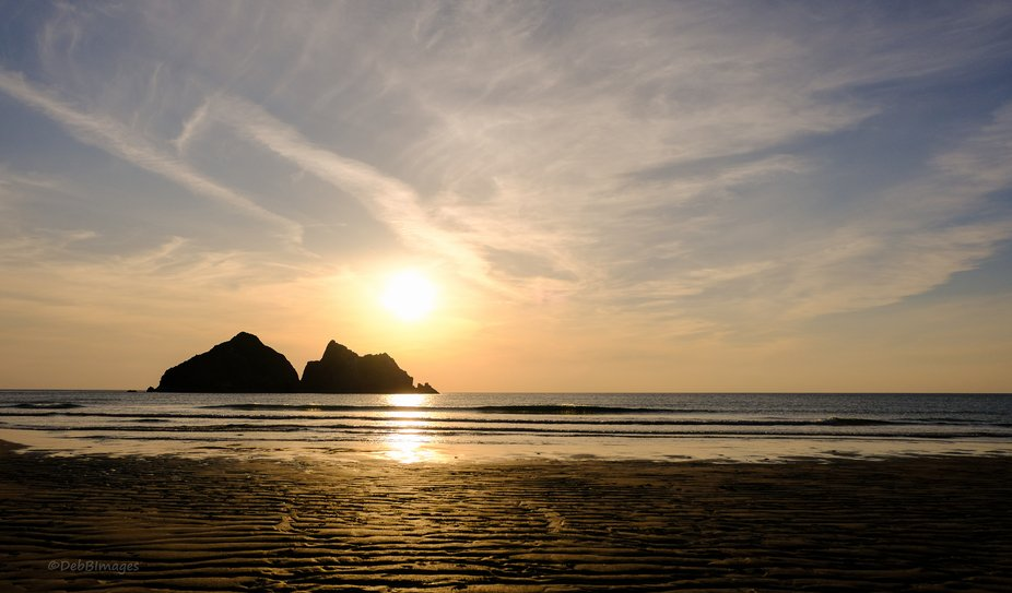 Low Sun at Holywell Bay