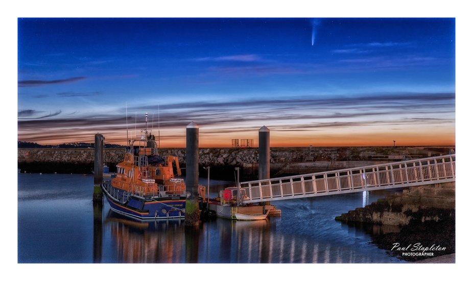 Comet Neowise over Brixham Lifeboat