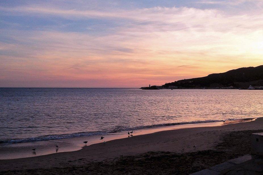 Sunset on the beach in Sesimbra