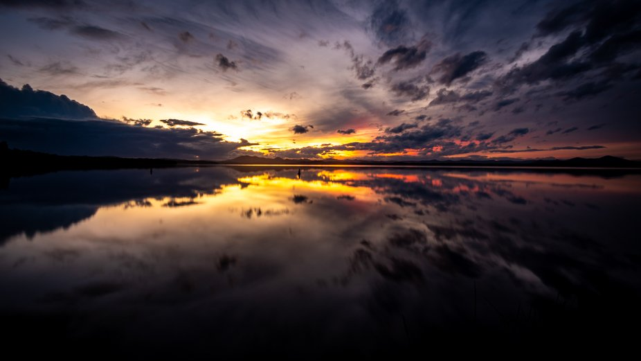 Sunset over Myall Lake on a calm winter evening