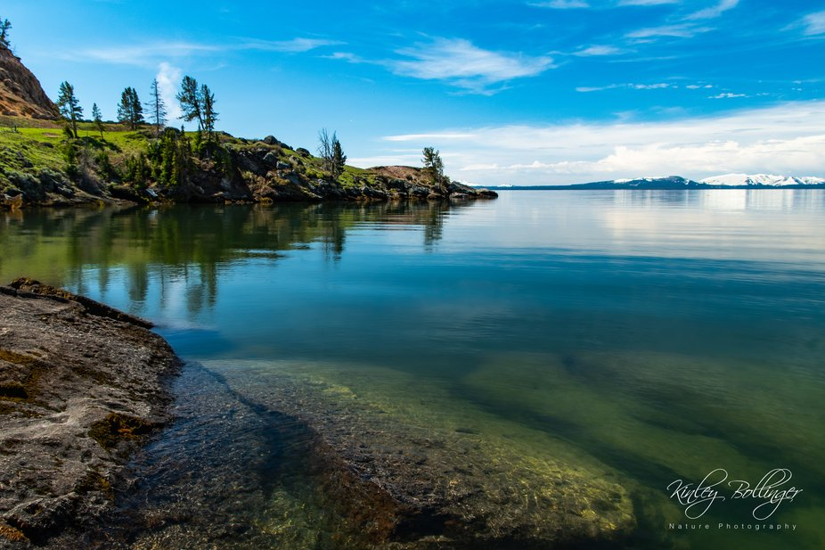 Yellowstone Lake is almost never this calm.  I feel so very fortunate to have experienced this be...