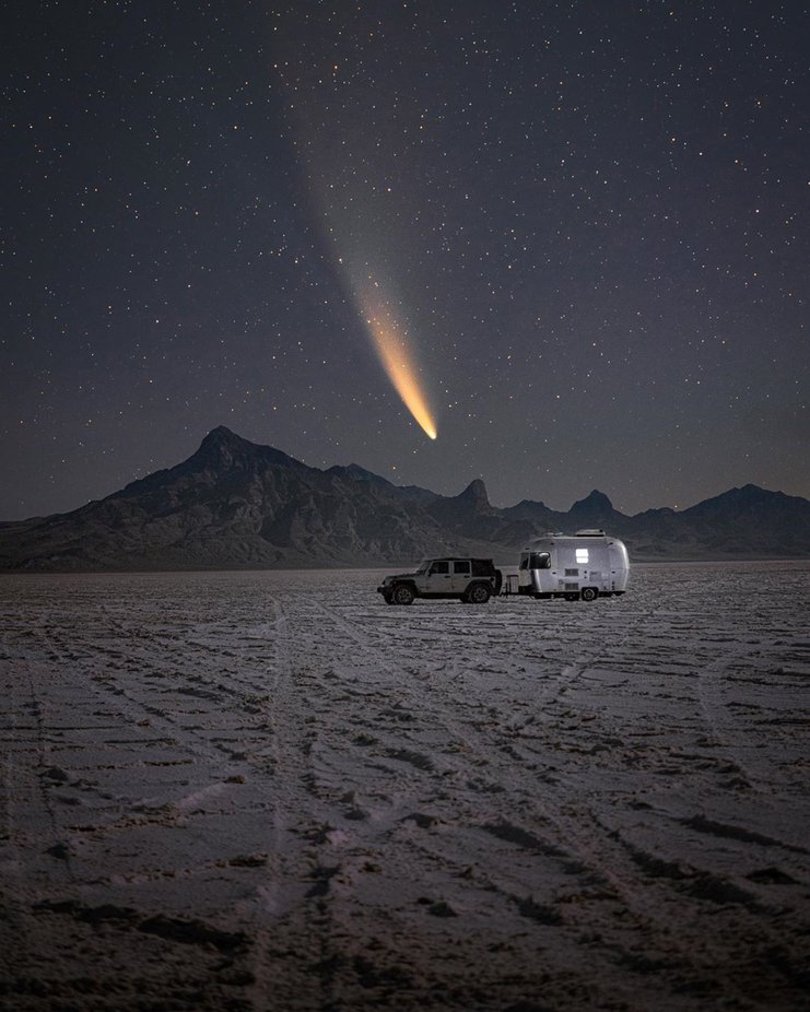 A few mornings ago I decided to drive out to these salt flats in hope for clear skies and to capture Neowise setting in the sky. Hope you enjoy this photo in such an everchanging and wild world. We are so miniscule when it comes to the galaxy above.  by KRL_Photo - Image Of The Month Photo Contest Vol 59