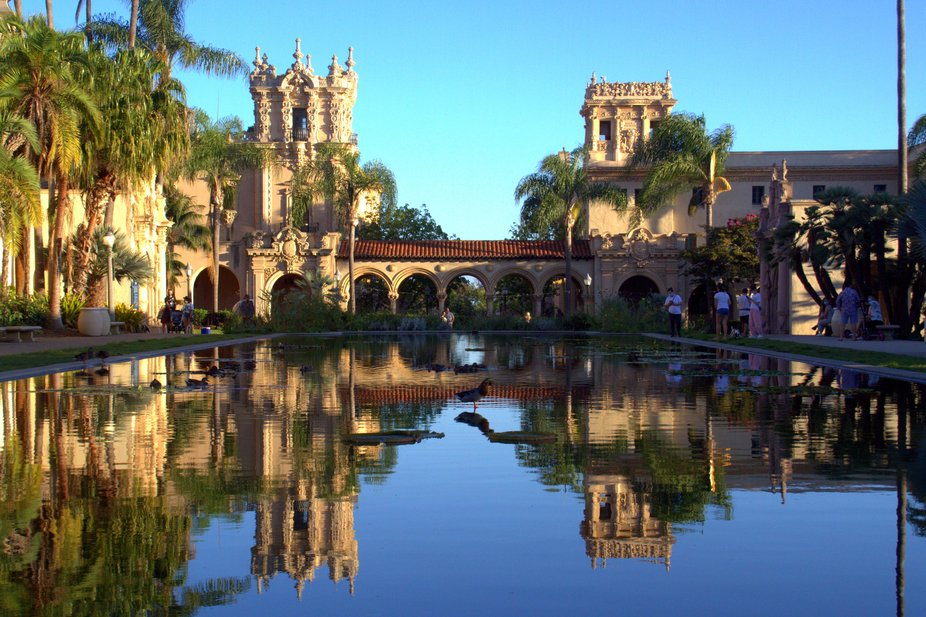 The House of Hospitality and Casa de Balboa in San Diego's Balboa Park are reflected in ...