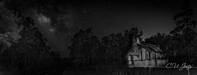 Went out on a school night but I couldn't resist. No moon and clear skies and a very dark location. This is the Halfway Creek Church in the Francis Marion National Forest in Berkeley County. It wasn't the exact picture I had in mind but I am not real big on trespassing in a cemetery at night (the chain was on the gate).