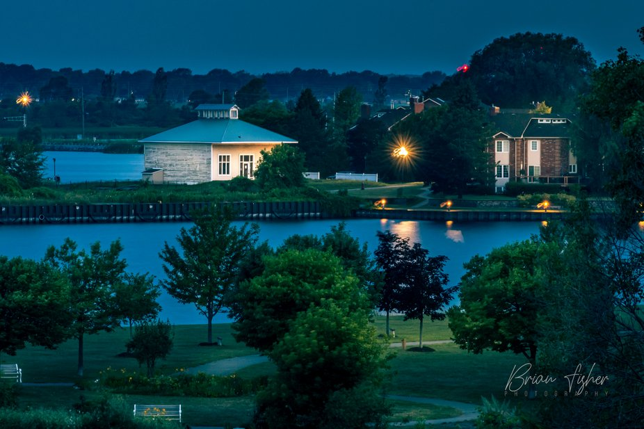Blue hour photo of the landscape west of Lake Ontario Park in Kingston ON