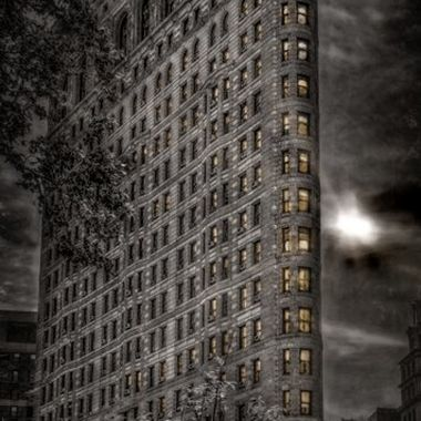 The Flatiron on a Wet and Moonlit Evening