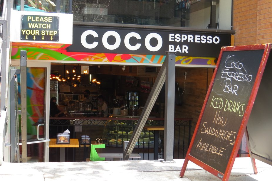 A view of Coco Espresso Bar in Yorkville.