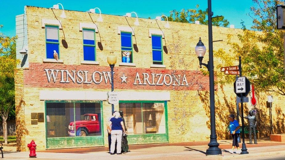 Standing on The Corner when we visited Winslow Arizona.