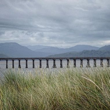 Railway bridge across the Mawddach estuary