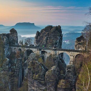 """The famos """"Bastei Brücke"""" near Dresden."""