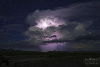 Massive lightning flash in a single storm cloud.  Southern New Mexico desert.
