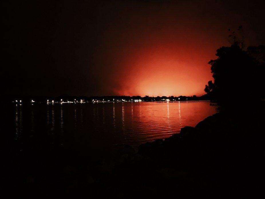 The glow of an Australian bushfire