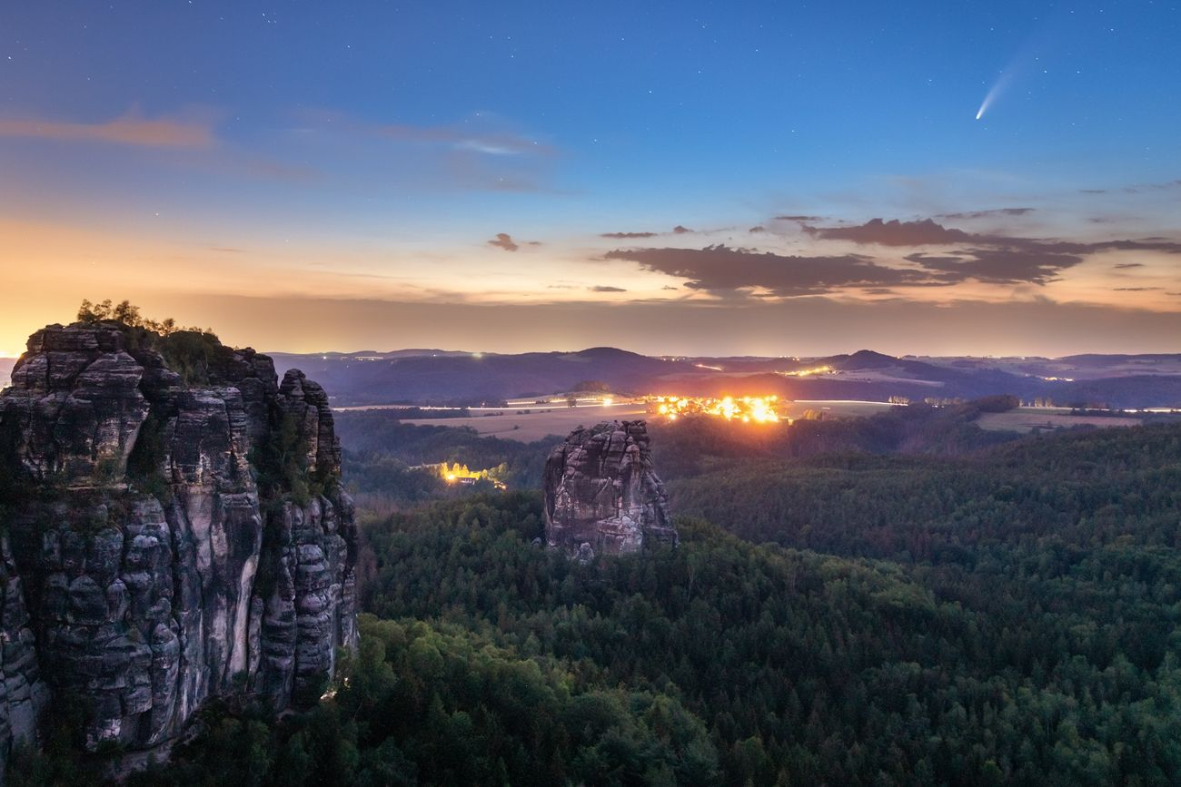 Comet Neowise above the Saxon Switzerland, Germany