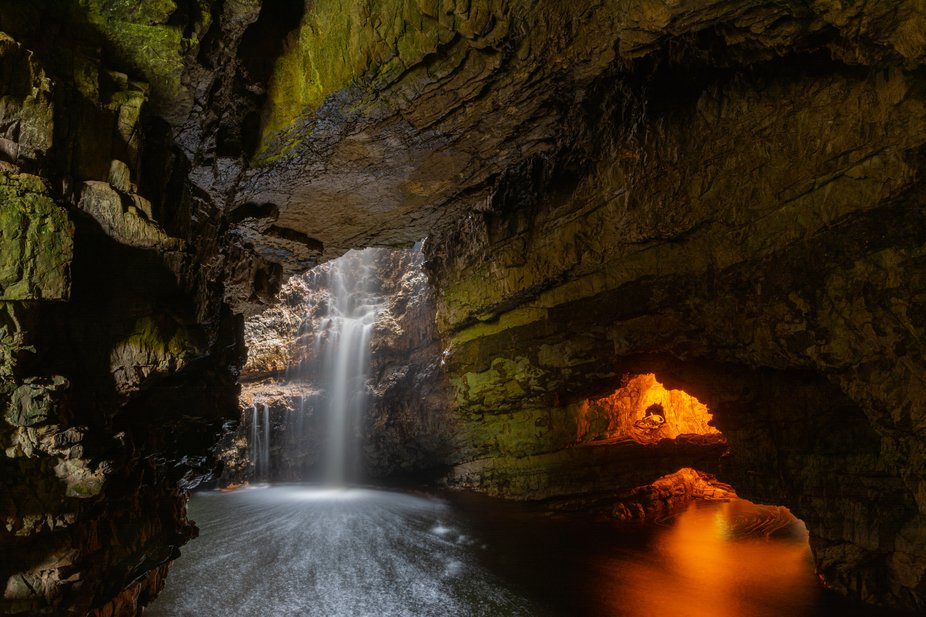 Image of the interior of Smoo cave, found at the eastern end of the village of Durness. &quot...