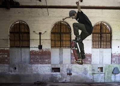 Warehouse SkateBoard Jump