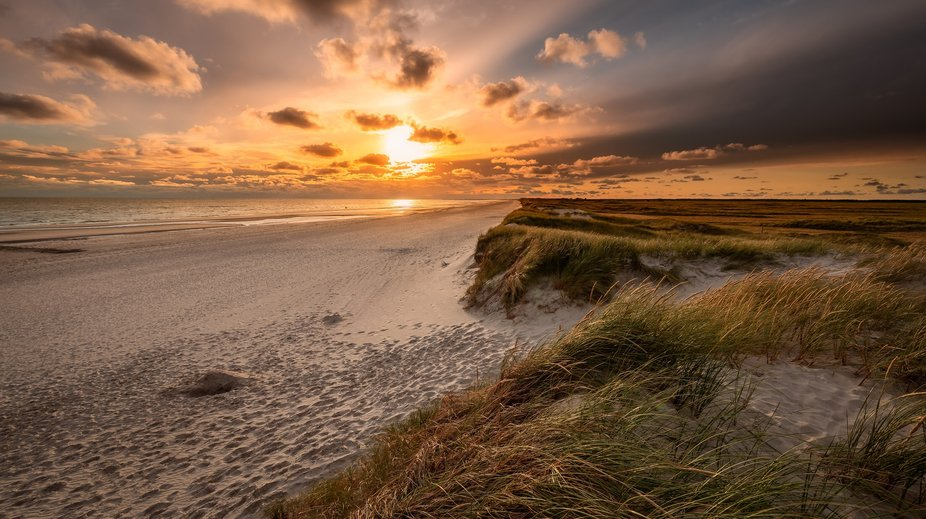 Beautiful evening at Skallingen in the Wadden Sea.  The actual trip out towards the beach was als...