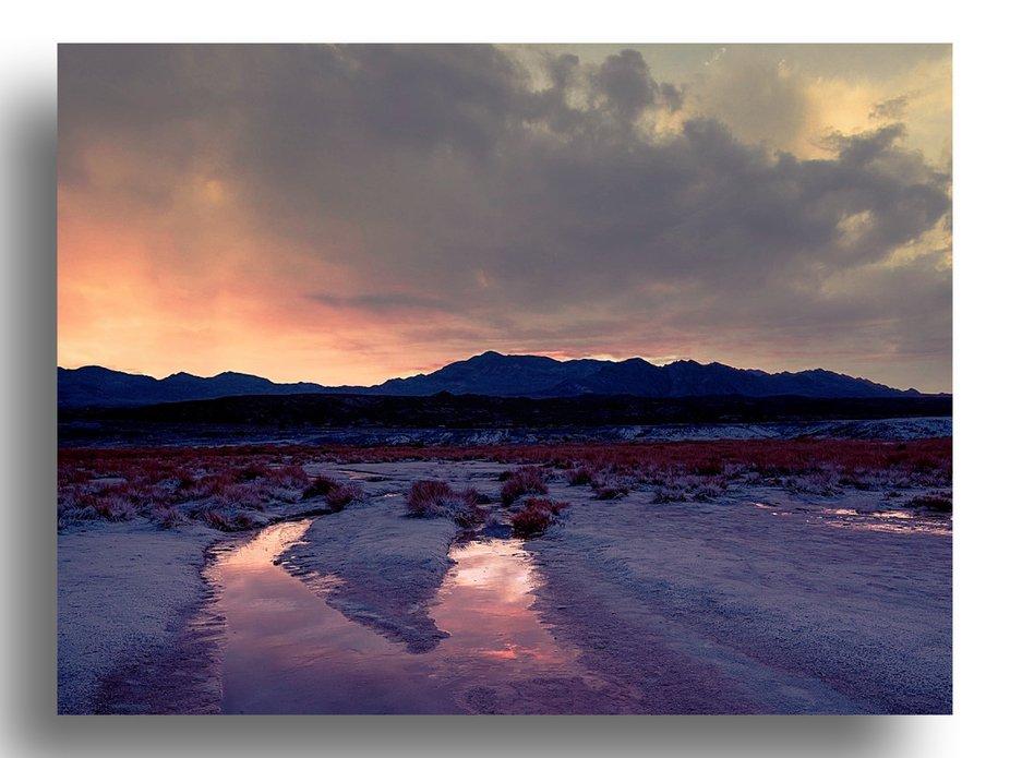 Early Sunrise Death Valley Salt Flats Mile marker 105
