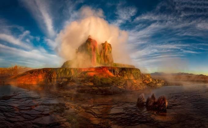 Geyser Steams at Dawn by DaveKochPhoto