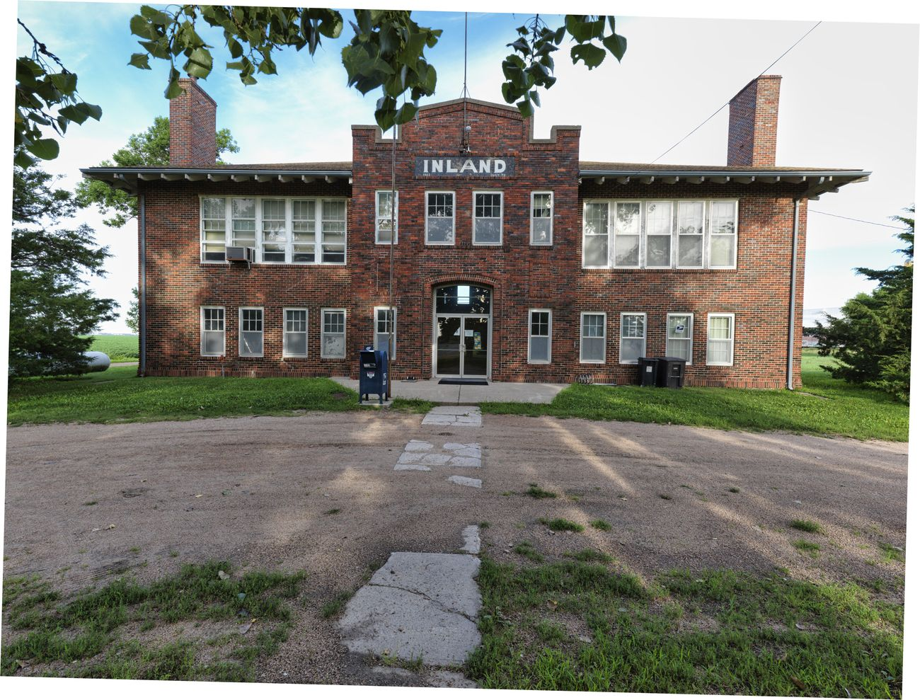 Old School Building being used by the post office.  The town as of July 2020 has 57 residents and is unincorporated.