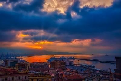 Seaport at sunrise