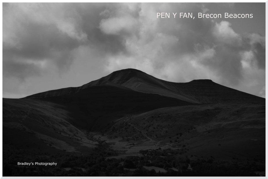 Pen y fan in black and white