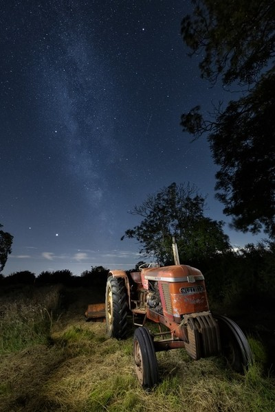 Vintage tractor under the stars